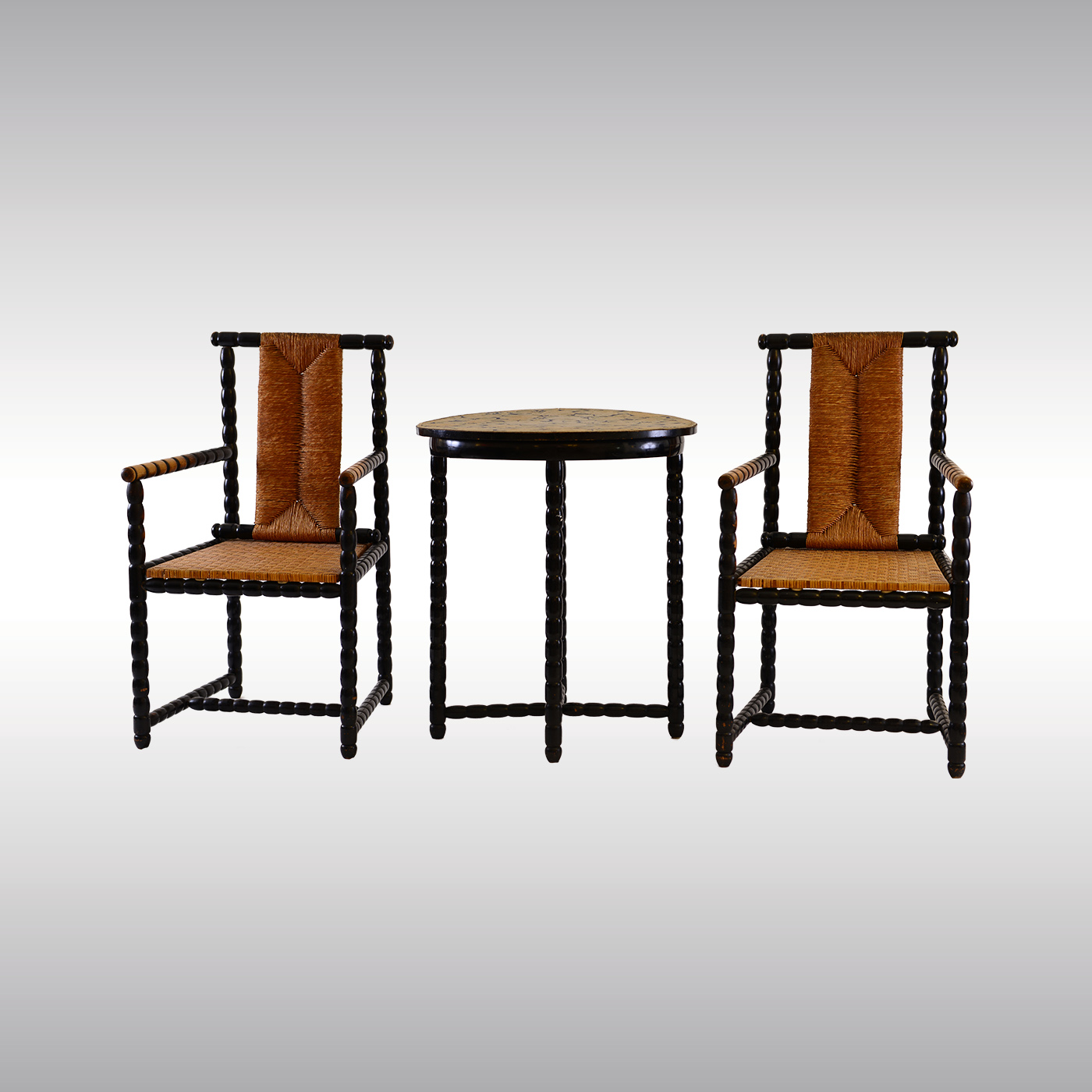 WOKA LAMPS VIENNA   Original #60035 Viennese Set, Two Armchairs And A Table  Design